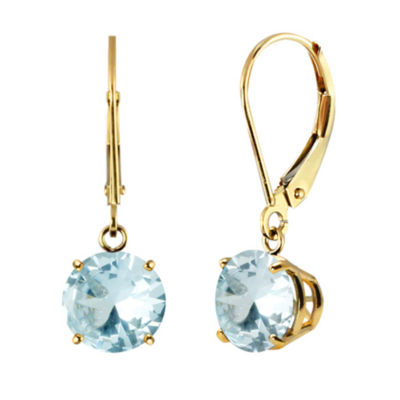 Genuine Aquamarine 10K Yellow Gold Leverback Dangle Earrings