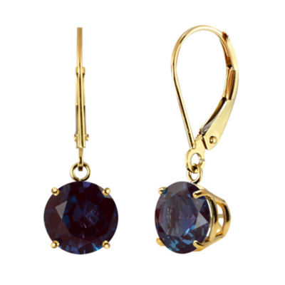 Lab-Created Alexandrite 10K Yellow Gold Leverback Dangle Earrings