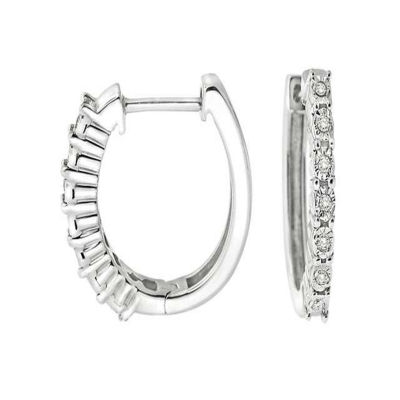 Diamond Accent White Diamond Sterling Silver Hoop Earrings