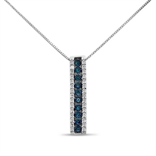 Womens 1/5 CT. T.W. Genuine Blue Diamond Sterling Silver Pendant Necklace