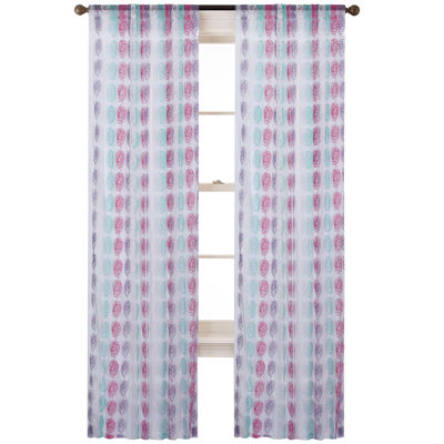 Cleo Rod-Pocket Embroidered Sheer Curtain Panel