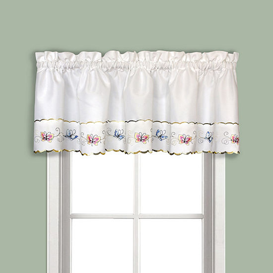 United Curtain Co. Butterfly Rod-Pocket Embroidered Valance