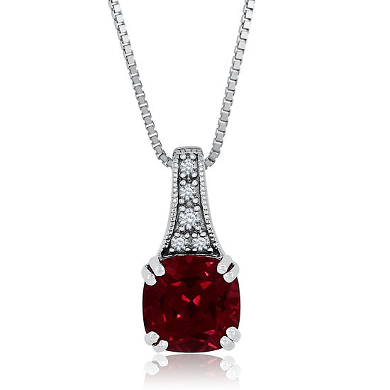 Womens Lab Created Red Ruby Sterling Silver Pendant Necklace