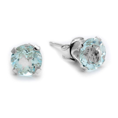 Diamond Accent Genuine Blue Aquamarine 10K Gold Stud Earrings