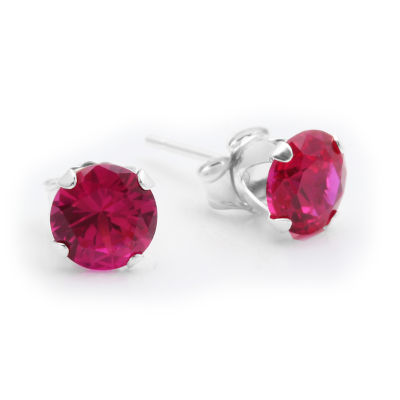 Lab-Created 6mm Ruby 10K Yellow Gold Stud Earrings