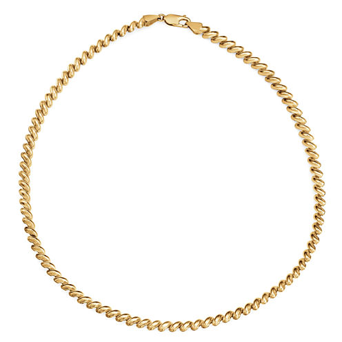 Made In Italy Womens 18 Inch 10K Gold Link Necklace