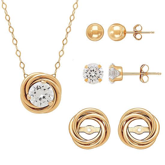 Womens 4 Pc Cubic Zirconia 10k Gold Jewelry Set