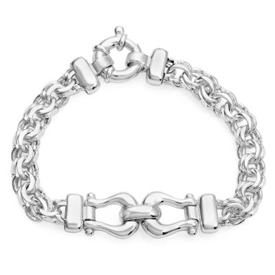 Made In Italy Womens 8 Inch Sterling Silver Link Bracelet