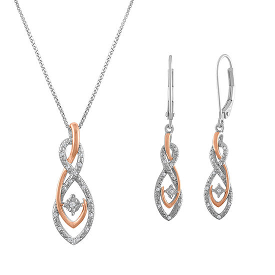 Womens 1/10 CT. T.W. White Diamond Sterling Silver & 14K Rose Gold over Silver Jewelry Set