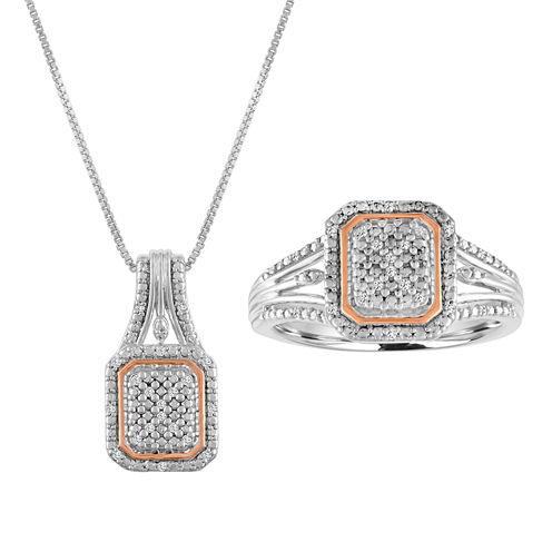 Womens 2-pc. 1/10 CT. T.W. White Diamond Sterling Silver Jewelry Set