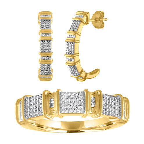 Womens 2-pc. 1/10 CT. T.W. White Diamond Gold Over Silver Jewelry Set