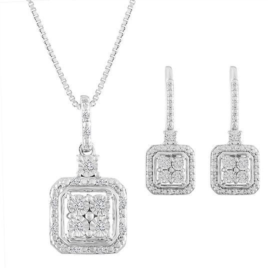 Diamond Blossom 1/10 CT. T.W. Genuine White Diamond Sterling Silver Jewelry Set