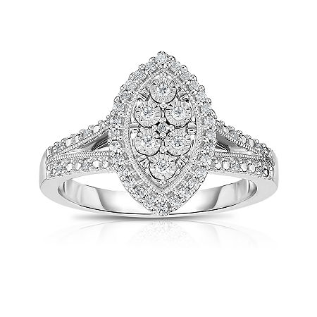 TruMiracle Womens 1/4 CT. T.W. Genuine White Diamond Sterling Silver Cocktail Ring, 7