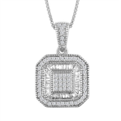 Womens 1/3 CT. T.W. Genuine White Diamond Sterling Silver Pendant Necklace