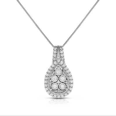 TruMiracle® Womens 1/4 CT. T.W. White Diamond Sterling Silver Pendant Necklace