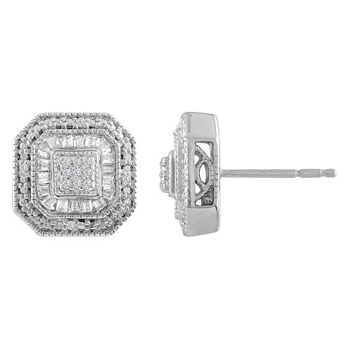 1/3 CT. T.W. Round White Diamond Sterling Silver Stud Earrings