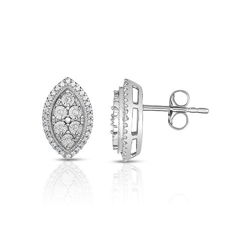 TruMiracle 1/4 CT. T.W. Round White Diamond Sterling Silver Stud Earrings, One Size
