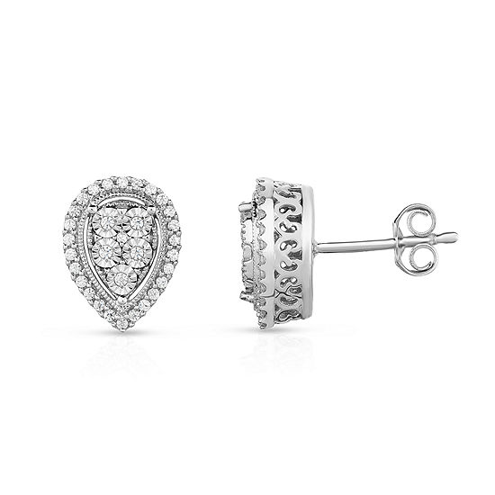 Trumiracle 1 4 Ct Tw Round White Diamond Sterling Silver Stud Earrings