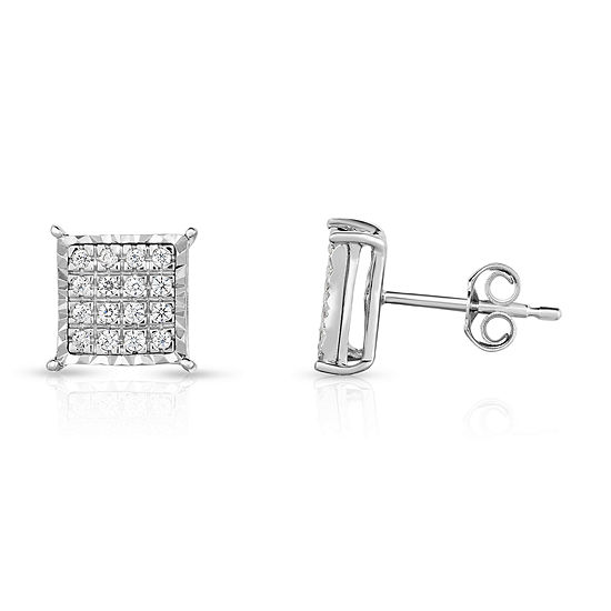 Tru Miracle 1/4 CT. T.W. Genuine White Diamond 8mm Stud Earrings