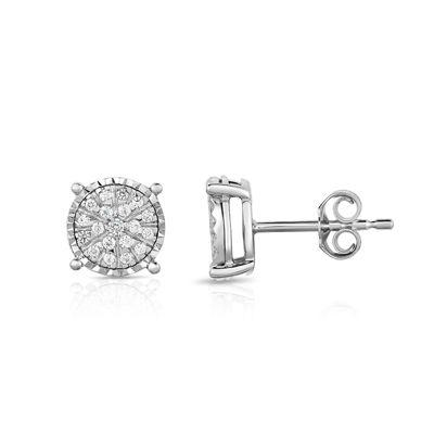 Tru Miracle 1/4 CT. T.W. Genuine White Diamond Sterling Silver 8.7mm Stud Earrings