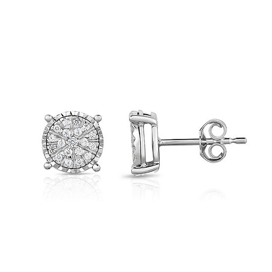 Tru Miracle 1/4 CT. T.W. Genuine White Diamond Sterling Silver 8.7mm Stud Earrings