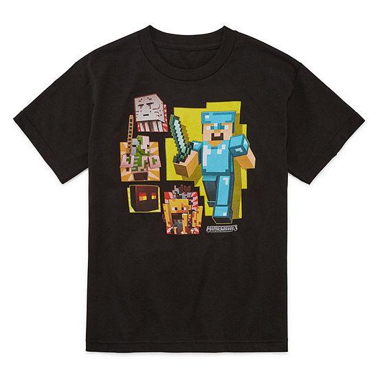 Boys Crew Neck Short Sleeve Minecraft Graphic T-Shirt Big Kid