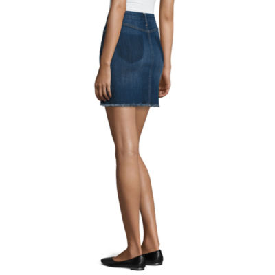 Arizona Raw Edge Denim Skirt-Juniors