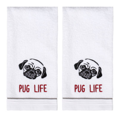 Saturday Knight 2-Pack Pug Life Hand Towel