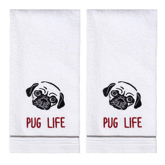 Saturday Knight 2-Pack Pug Life Hand Towel