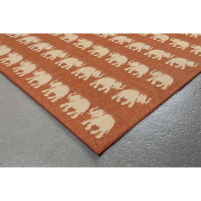 Liora Manne Terrace Elephants Square Rugs