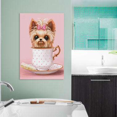 Icanvas Yorkie In A Teacup Canvas Art