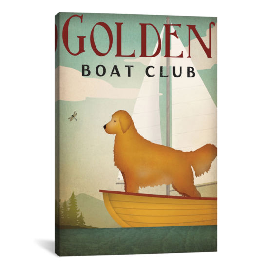 Icanvas Golden Boat Club Canvas Art