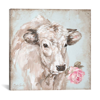 Icanvas Cow With Rose Ii Canvas Art