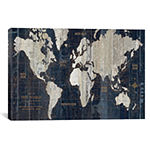 Icanvas Old World Map Blue Canvas Art