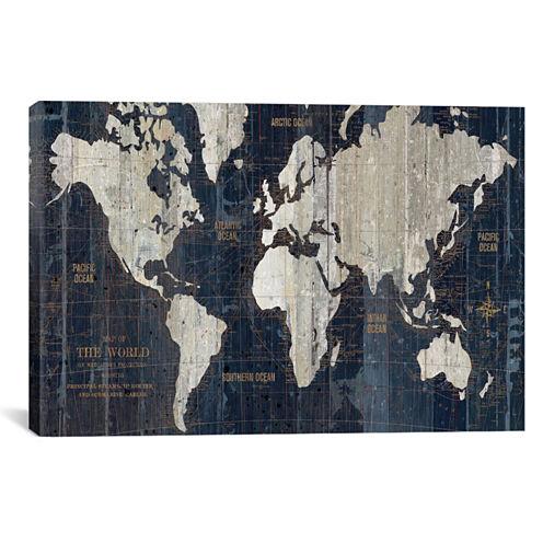 Icanvas Old World Map Blue Canvas Art