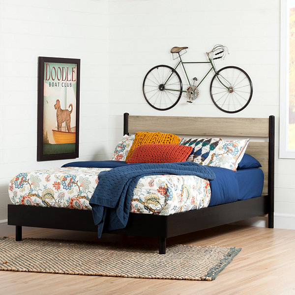 South Shore Morice Mid-Century Modern Queen Platform Bed with Headboard
