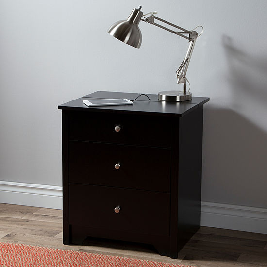 South Shore Vito 2-Drawer with Charging Station Nightstand