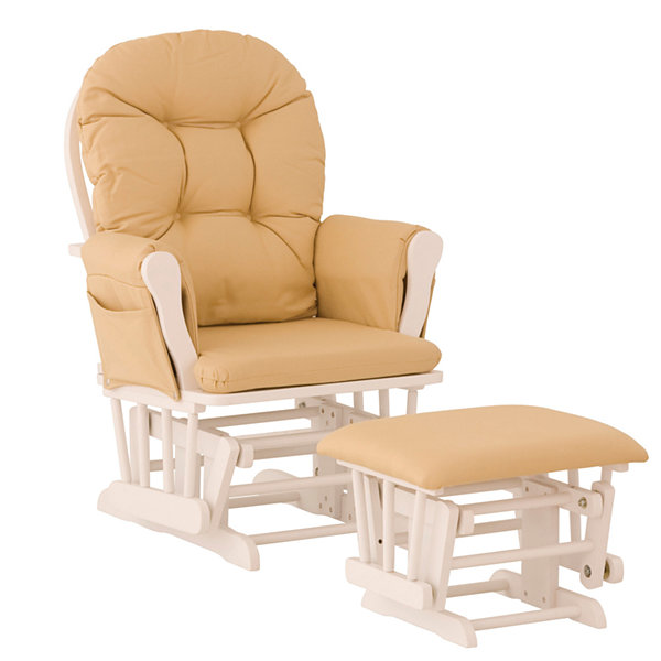 Storkcraft Hoop Glider And Ottoman - White W/ Khaki Cushions Dome-Arm Glider