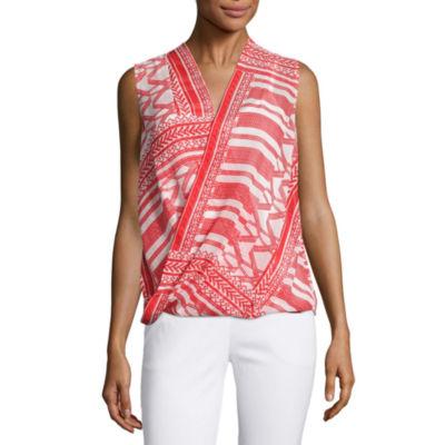 Liz claiborne sleeveless v neck wrap front blouse jcpenney for Liz claiborne v neck t shirts