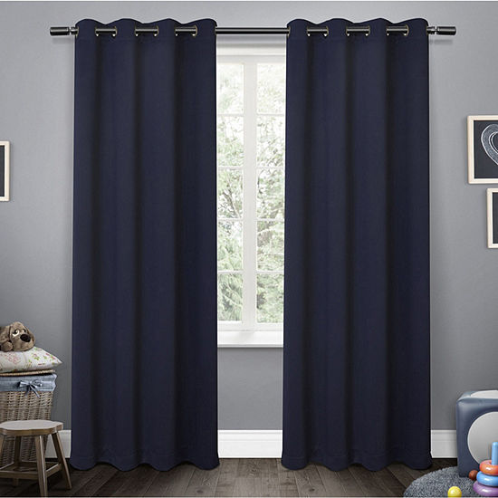 Sateen Blackout Grommet-Top Curtain Panel