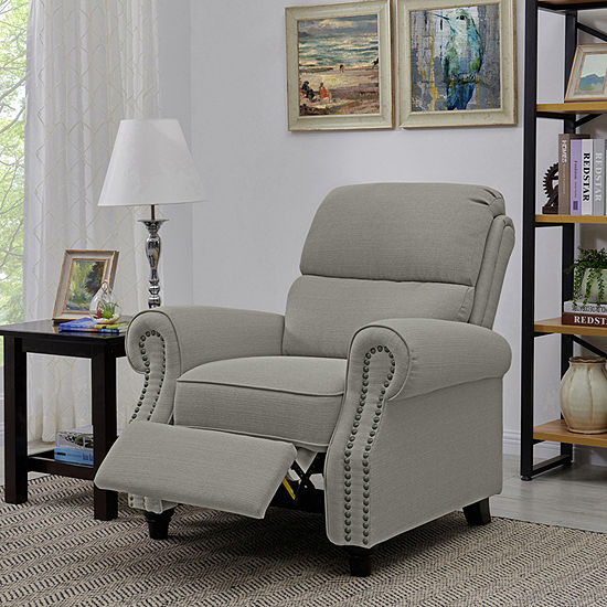 Anna Roll-Arm Push Back Recliner in Linen-Like Fabric