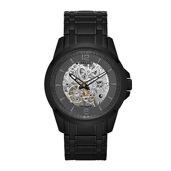 Relic By Fossil Mens Automatic Black Stainless Steel Bracelet Watch-Zr12110