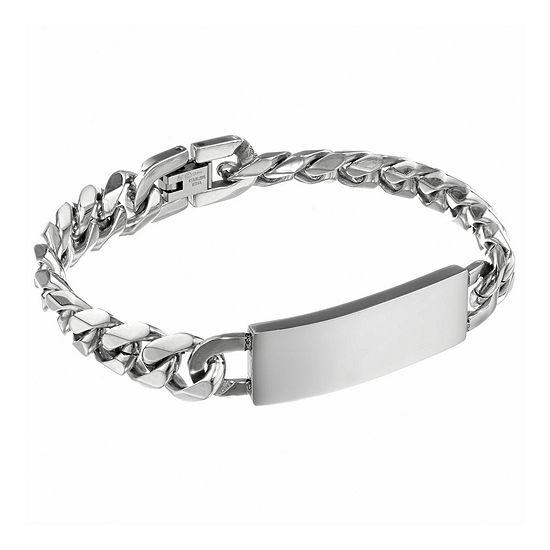 Mens 12mm Stainless Steel Curb ID Bracelet