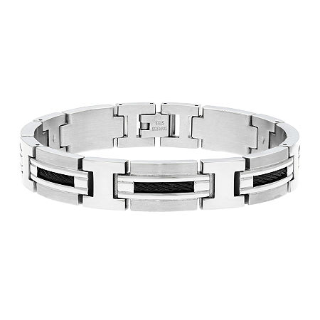 Mens Stainless Steel Railroad Link Bracelet, One Size , White