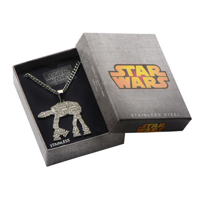 Star Wars® AT-AT Walker Mens Stainless Steel Pendant Necklace