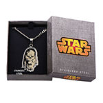Star Wars® Chewbacca Mens Etched Stainless Steel Pendant Necklace