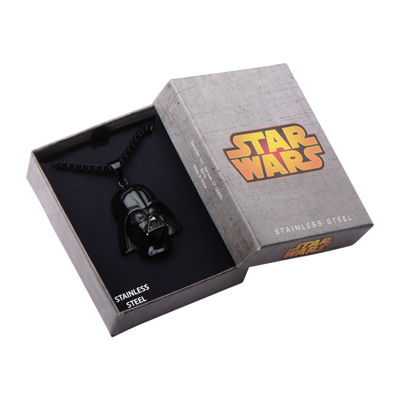 Star Wars® Darth Vader Mens 3D Stainless Steel & Black IP Pendant Necklace