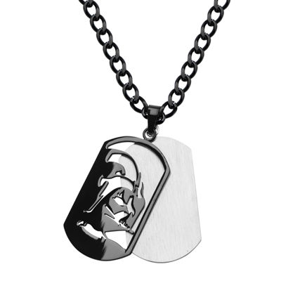 Star Wars® Darth Vader Mens Stainless Steel & Black IP Layered Dog Tag Pendant