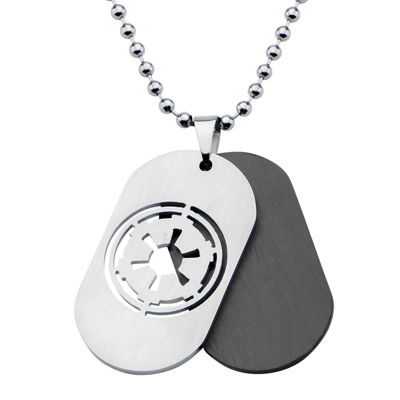 Star Wars® Imperial Crest Mens Stainless Steel and Black Dog Tag Pendant