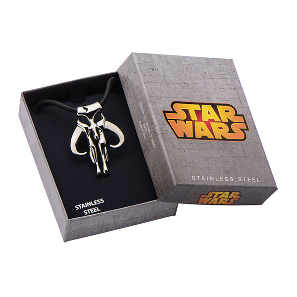 Star Wars® Mandalorian Symbol Mens Stainless Steel Pendant Necklace